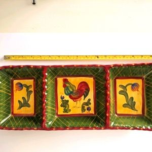 Chicken/farm theme 3 section ceramic serving tray